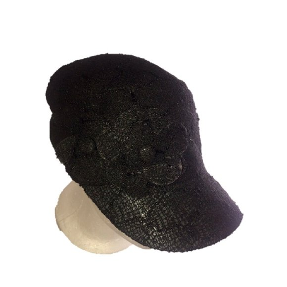 Nine West Lace Worker Cap With Flower, Black